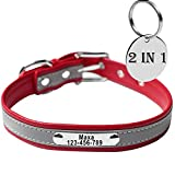 JJYPet Engraved Leather Dog/Cat Collars Personalized Collar with Name Plated for Small Medium Large