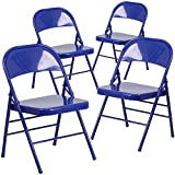 Flash Furniture Hercules Color Burst Series Cobalt Blue Triple Braced and Double Hinged Metal Folding Chair, 4-Pack