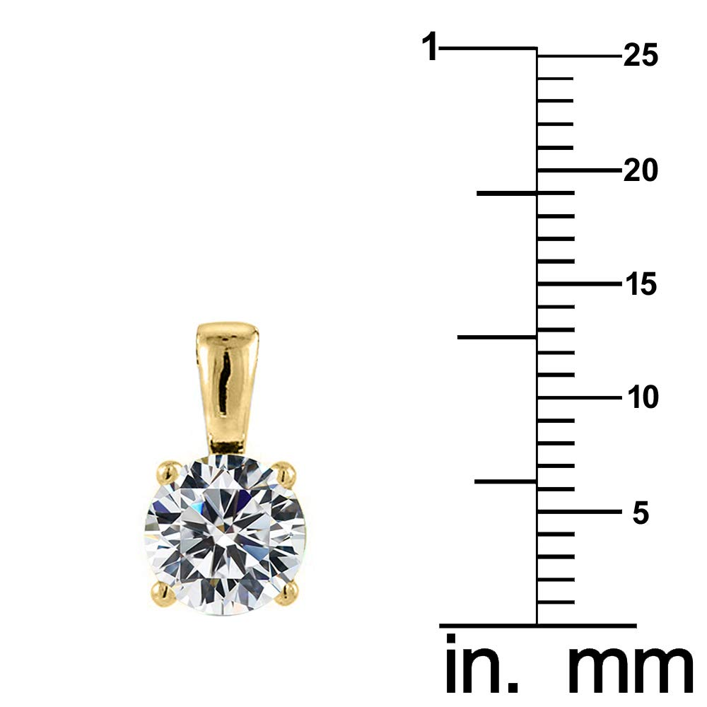 Precious Stars Jewelry 14k Yellow Gold 7mm Round-Cut Cubic Zirconia Solitaire Pendant