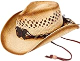 Denovit Kid's Classic Ombre 2-Toned Straw Woven Wild West Cowboy Hat,Style4