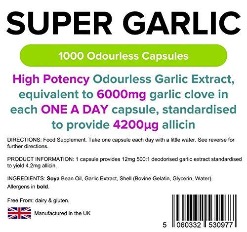 Cápsulas de ajo sin olor Super Garlic, 6000 mg, pack de 365 unidades: Amazon.es: Salud y cuidado personal