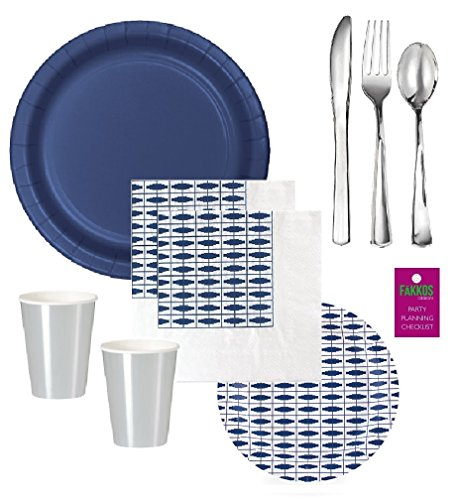 Navy Blue Party Supplies Birthday Bridal Wedding Shower With Shiny Silver Cups & Premium Quality Shiny Silver Plastic Cutlery for 12-16 Guests - Elegant (Nautical Plastic Plates)
