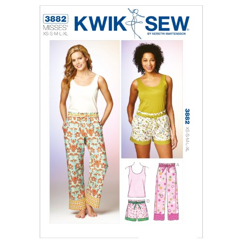 Kwik Sew K3882 Sleep Pants Sewing Pattern, Shorts and Top by KWIK-SEW PATTERNS