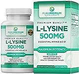 Premium L-Lysine by PurePremium (Maximum Strength) Essential Amino Acid - Support Immune System Health - 200 Tabs