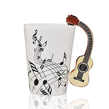 I mart musical notes design ceramic drink tea coffee mug cup acoustic guitar