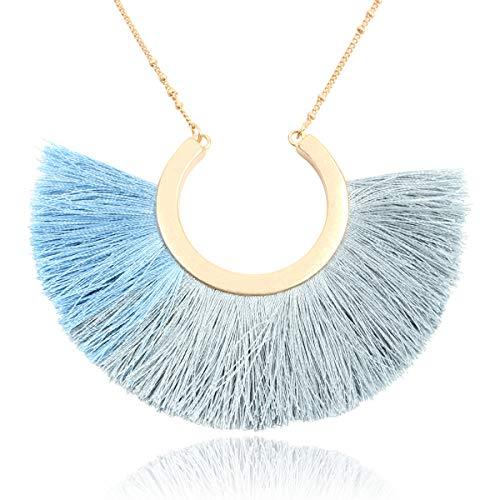 RIAH FASHION Bohemian Fringe Tassel Pendant Statement Necklace - Silky Strand Semi Circle Thread Fan Charm Long Chain (Half Moon - Multi Blue)