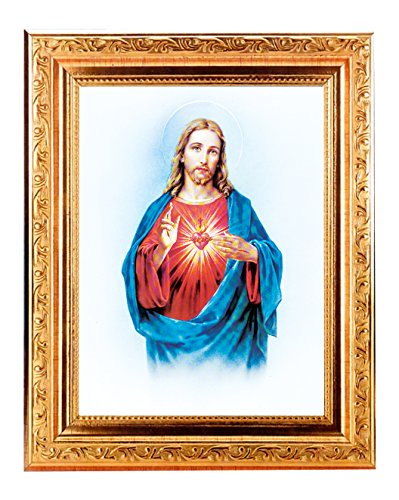(8 7/18) SACRED HEART OF JESUS Fine Art Print Antique Gold Leaf Frame 8 x 10 Italian Lithograph Fine Detailed Scroll. Exclusive Paul Herbert Copyrighted Blessing Included. BASILICA -