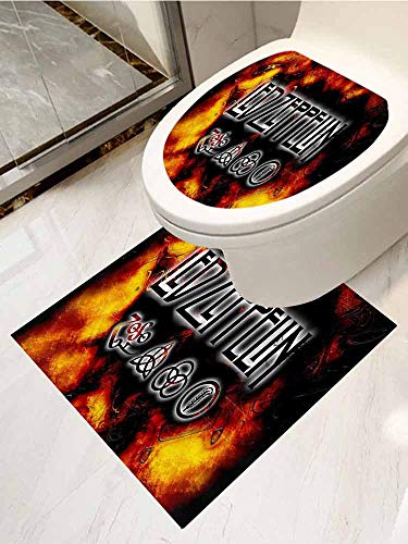 AuraiseHome Toilet Seat Tattoo Cover Led Zeppelin Vinyl Bathroom Decor 2-Piece Set (Best Led Zeppelin Tattoos)