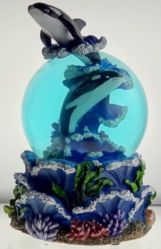 Sculptured Killer Orca Whale Snow Globe   Water Ball Musical 7 3 4  High  Tune   Over The Waves