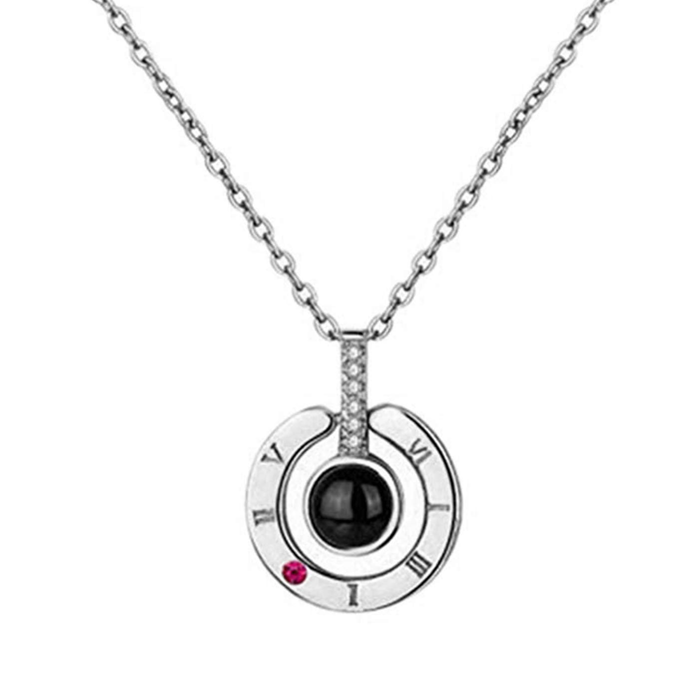Womens Pendant Necklace, The Memory of Love Projective Necklace, 100 Different Languages for I Love You Nanometer Engraving Necklace Jewelry (Silver)