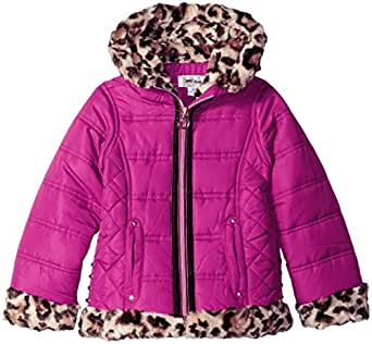 Amy Byer Little Girls' Moto Puffer with Animal Print Faux Fur, Raspberry, 4