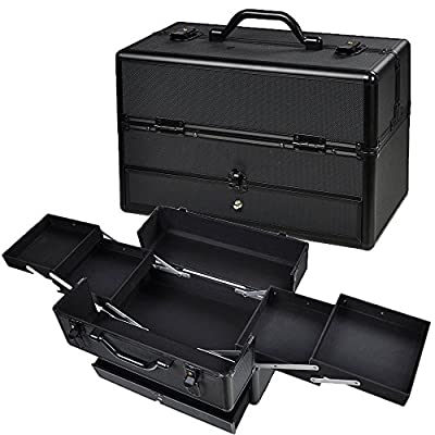 "14X7X9"" Lockable Black ABS Aluminum Cosmetic Makeup Train Case W/ Drawer Trays"
