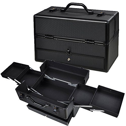 AW Aluminum Cosmetic Makeup Train Case Lockable ABS Storage Organizer Box with Drawer Trays Black 14X7X9