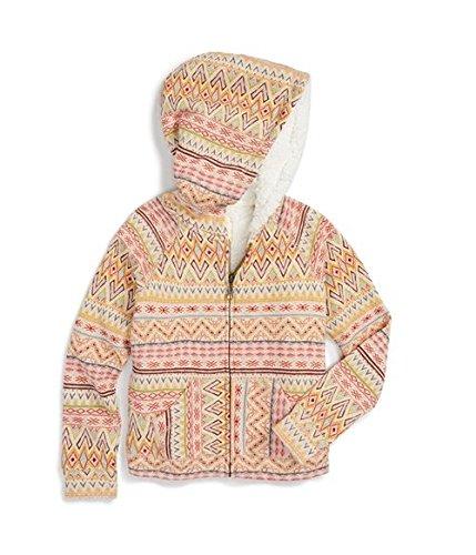 Billabong Big Girls' Tumbleweed Zip Up Sherpa Hoodie, Oatmeal Heather, Small (Screen Print Sweatshirt Sherpa)