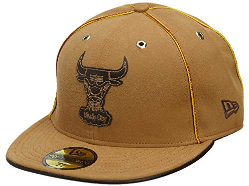 New Era Chicago Bulls Fitted Hat Mens Style : HAT113-LIGHT BROWN Size : 7 5/8