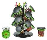 King International 12-Jar Cute Revolving Spice Masala Box Rack with Fruit Fork, Green