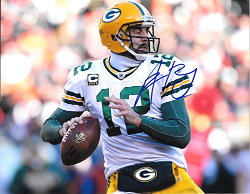 Aaron Rodgers Autographed Signed Green Bay Packers 8 x 10 Photo - Mint Condition - COA From Nostalgic Cards & (Green Autographed Photo)