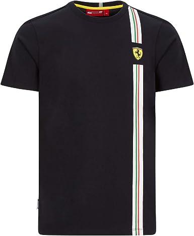 Ferrari Scuderia F1 - Camiseta para hombre, diseño de bandera italiana, color negro y rojo: Amazon.es: Ropa y accesorios
