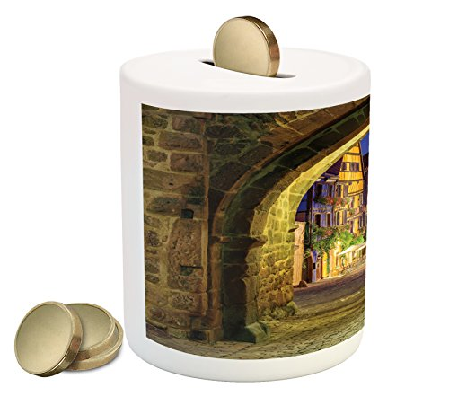 Cityscape Piggy Bank by Lunarable, Riquewihr Alsace View France through City Wall Gate at Night Historical Town Picture, Printed Ceramic Coin Bank Money Box for Cash Saving, (Alsace Wall)