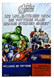 Marvel Avengers Assemble Valentines with Tattoos Plus Bouns Sticker Sheet - Valentines Day Classroom Exchange - Super Heroes