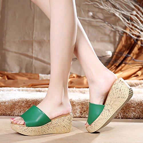 de Manera Verano de de señoras Zapatillas Cuero Sandalias Zapatos de y Antideslizantes del de Sandalias Informal la la de Playa green Comodidad YMFIE cuña zpcPXqz