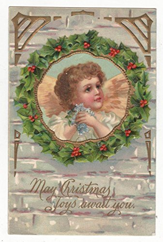 - Angel in Holly Wreath Christmas Greeting Antique Postcard N4288