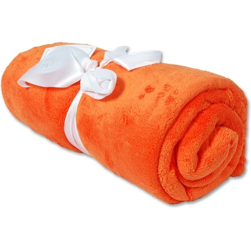 Threadart Super Soft Ultra Plush Fleece Blankets Orange - 11 Colors Available