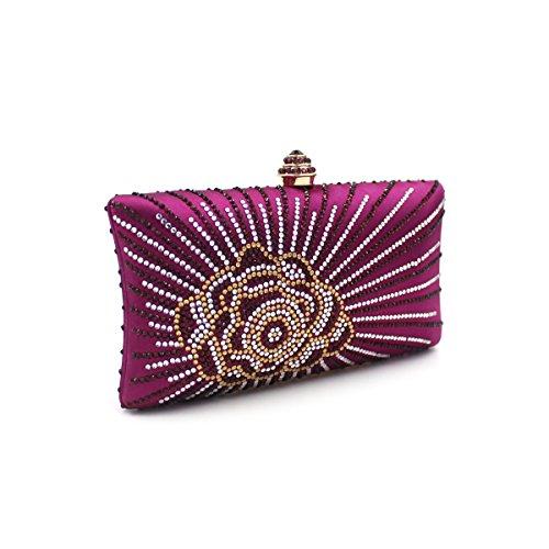 Flada mujeres y señoras caliente perforación rhinestones flor noche embrague bolso monedero con cadena verde Púrpura