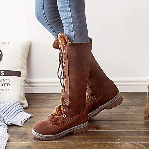 Chaussures mollet Bottes De Fausse Synthtique Cuir Des D'hiver Femmes En 3brown Fourrure Sarairis Mi Pour Neige Portez FqdgFf