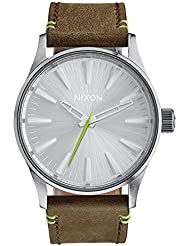 Nixon Unisex Sentry 38 Leather Brown/Lime Watch