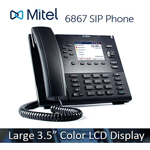 Mitel 6867 6867i VoIP 3.5'' Color LCD Display HD Audio SIP Office IP Softphone Phone 80C00002AAA by Mitel Networks Corporation