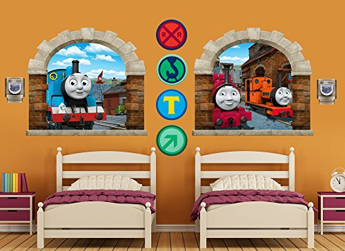Thomas The Tank Engine Mural - Thomas & Friends Large Window Wall Decal Set 2