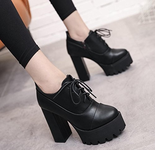 Version 11 Winter The Head Female Thick Black And And With Of Taiwan Autumn Korean KHSKX Strap Side Boots New 5Cm High Boots Bare Waterproof 35 Ultra With Zipper Boots Round Short 5UqnZ