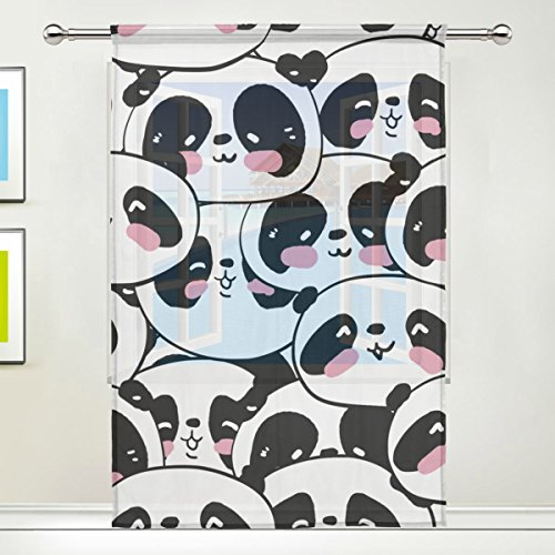 LEISISI Many Panda Head Pattern Print Tulle Voile Door Window Room Sheer Curtain Drape 1 Panel Scarf Valances Wide Width Gauze Curtain for Bedroom Single panel 55x84(inch)
