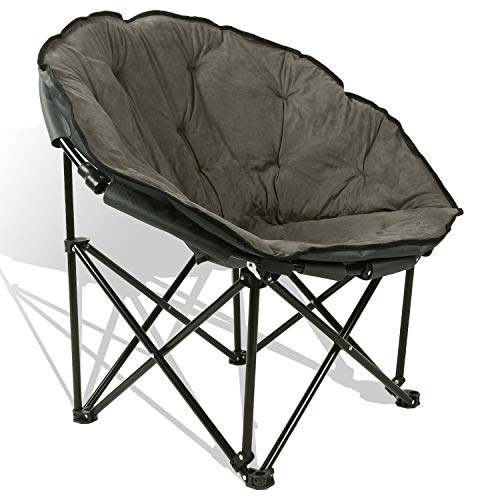 Extra Comfort Folding Moon Chair Saucer with Suede Pad for Any Living Room, Dorm or Apartment Space (Grey) (Papasan Pad Chair)