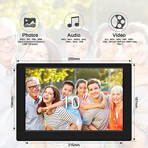 Tenswall 10 Inch Digital Photo Frame Upgraded HD 1280x800, Digital Picture Frame Full IPS Display Photo/Music/Video/Calendar/Time, Auto On/Off Timer, Support 32GB USB Drives/SD Card,Remote Control by Tenswall (Image #2)