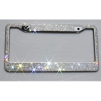 Amazon.com: License Plate Frame Sparkly Crystal Bling License Plate ...