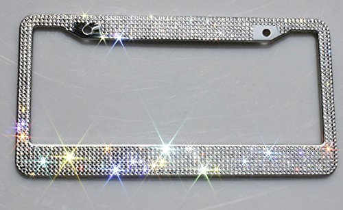Carfond 7 Row Handcrafted Shining Sparkling Premium Glass Crystal Diamond Stainless Steel Metal License Plate Frame 2 Holes Bonus Matching Screws Caps (Clear crystal)
