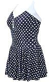 ALICECOCO Women's Polka Dot One Piece Swimsuit Tummy Control Swimwear Swimdress with Skirt(FBA)