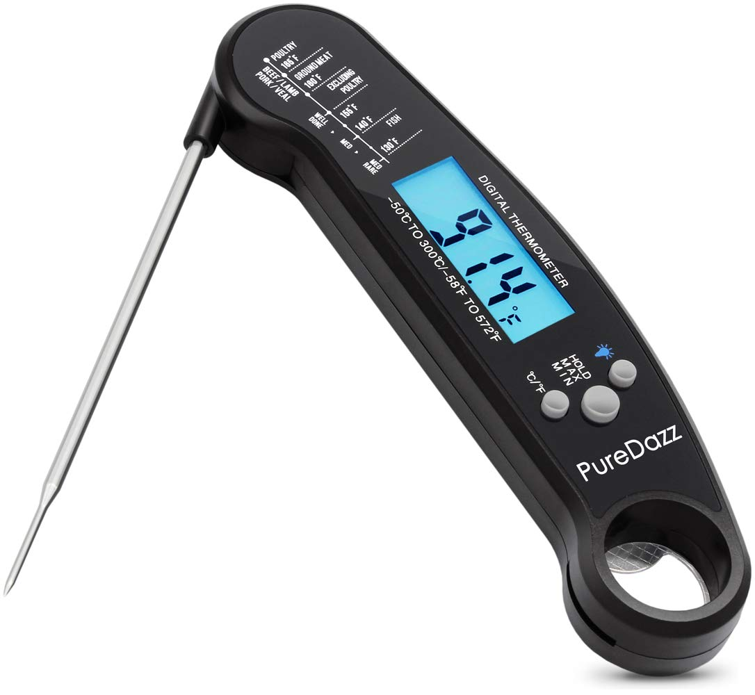 Puredazz Wendu Digital Meat Waterproof Instant Read Cooking Food Thermometer with Long Probe Backlight for Grilling Bbq Smoker Liquid Baking Candy (Sesame Black)