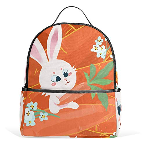 Mr.XZY Cute Rabbit Hand Carrot Casual School Bag Bookbag Bunny Blooming Flower Childish Cartoon Fairy Tale Multipurpose Business Daypacks Laptop Backpack for Men Women Students 2010385