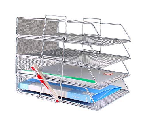 Document Tray Office Desk Organizer Stackable Mesh Collection Letter Tray Shelves Desktop Paper Holder Metal Desktop Tray (Silver, 4-Tier)