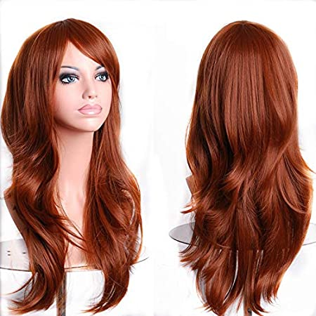 TopWigy Women Long Wavy Cosplay Hair Wigs Heat Resistant Big Curly Party Costume Wig with Wig Cap (Red Brown)