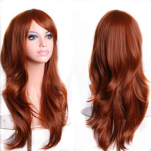 TopWigy Women Long Wavy Cosplay Hair Wigs Heat Resistant Big Curly Party Costume Wig with Wig Cap (Red Brown 28