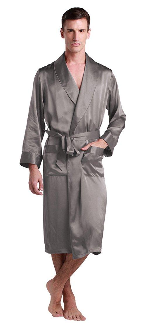 LILYSILK Men's Silk Robe Long Tea Length Lapel Collar 22 Momme Pure Silk Dark Gray Size 38/M