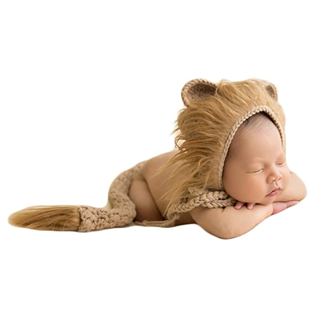 f942090a5 Amazon.com  Baby Photography Props Lion Hats Tail Newborn Boy Girl ...