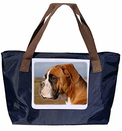 Shopper /Schultertasche / Einkaufstasche / Tragetasche / Umhängetasche aus Nylon in Navyblau - Größe 43x33cm - Motiv: Hund Deutscher Boxer Porträt - 03