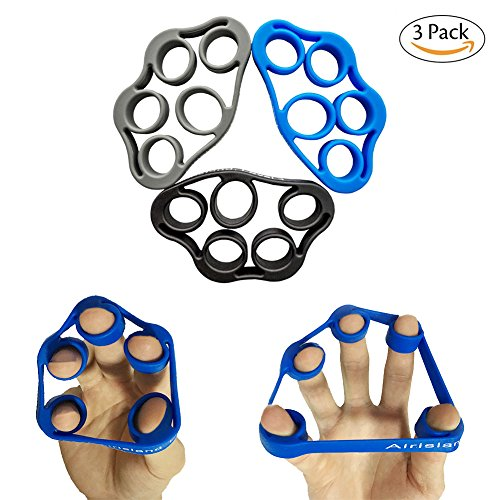 Airisland Finger Stretcher Hand Resistance Bands Hand Extensor Exerciser Finger Grip Strengthener Strength Trainer Gripper set for Arthritis Carpal Tunnel Exercise Guitar and Rock Climbing 3pcs Review