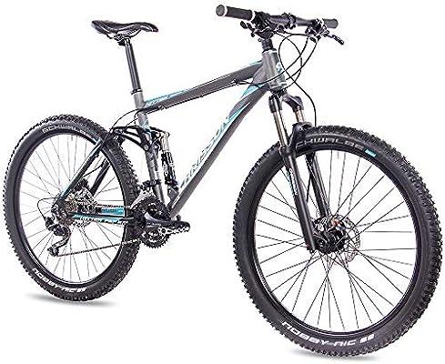 CHRISSON Bicicleta de montaña Fully de 27,5 pulgadas – Hitter FSF gris azul – Bicicleta de montaña