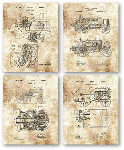 Ramini Brands Original John Deere Tractors Patent Art Drawings - Set of 4 8 x 10 Unframed Prints - Great Gift for Farmers, Landscapers - Country Barn Decor